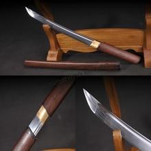 Hand Forge Samurai Sword Katana Tanto Full Tang Sharp Edge Wood Saya