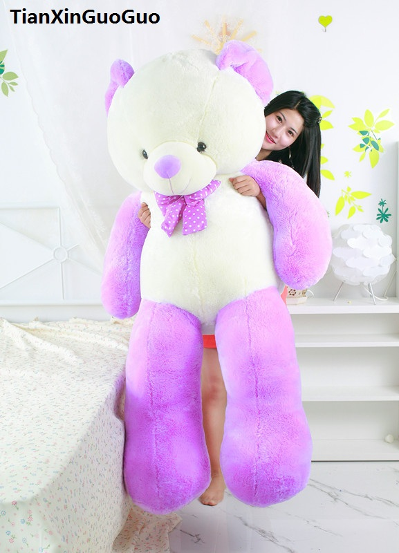 Jouet en peluche énorme 160 cm teddy bear doux en peluche jouet pourpre et blanc ours doux poupée étreignant oreiller jouet d'anniversaire cadeau s0388