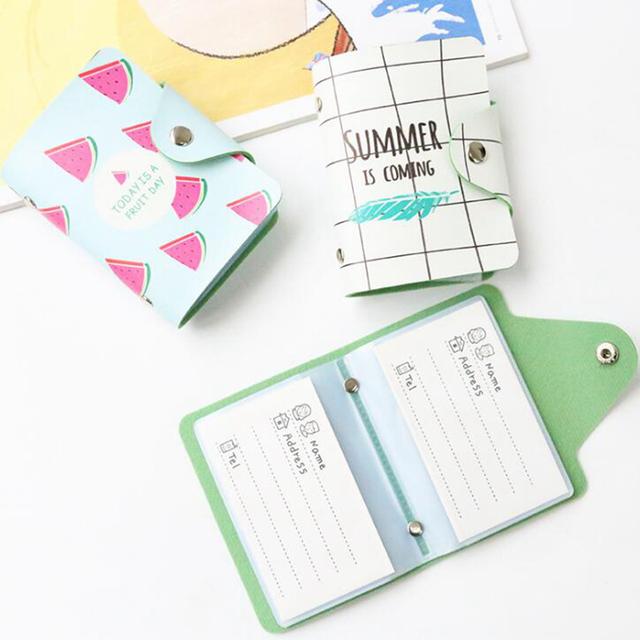 Cute 24 Bits Card ID Holders Case PU Leather Function Business Card Holder Women Credit Passport Card Bag Passport Card Wallet