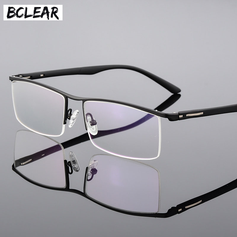 BCLEAR 2018 New Arrival High-end Business Men's Eyeglasses Frame Unique Temple Design Titanium Alloy Half Rim Spectacle Eyewear
