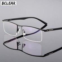BCLEAR 2018 High end עסקי גברים של משקפיים מסגרת ייחודי מקדש עיצוב טיטניום סגסוגת חצי הראווה שפה eyewear