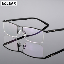 BCLEAR 2018 New Arrival High end Business Mens Eyeglasses Frame Unique Temple Design Titanium Alloy Half Rim Spectacle Eyewear