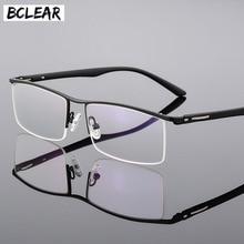 BCLEAR lunettes daffaires pour hommes, monture de lunettes daffaires haut de gamme, conception Unique en Temple, demi jante en alliage de titane, 2018 nouveauté