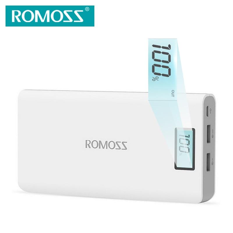 Цена за ROMOSS Sense6 Plus Power Bank 20000 мАч Внешняя Батарея с СВЕТОДИОДНЫЙ Дисплей Dual USB Выход для Телефонов Tablet PC