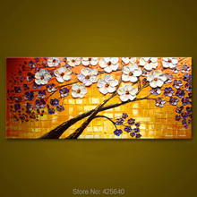 Canvas painting on the wall painting for entrance way canvas wall art photos palette knife hand Purple white flower