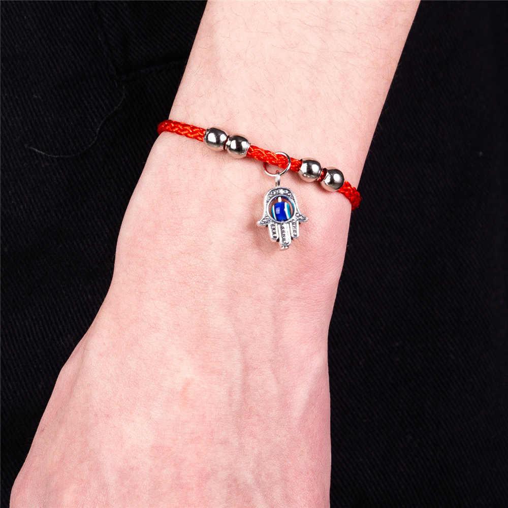 ハムサハンドチャームブレスレット赤文字列ブルー邪眼手作り幸運ブレスレットのための女性の男性の子供糸アミュレットジュエリー