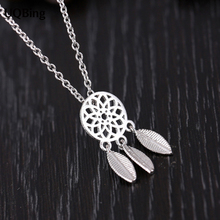 New Arrival Drop Shipping 925 Sterling Silver Necklaces Dreamcatcher Feather Pendants Necklaces Jewelry Collar Colar