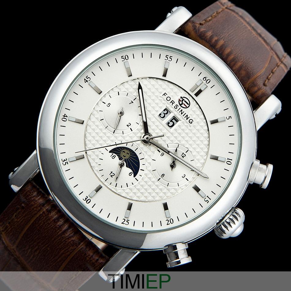 Deluxe quality automatic Tourbillon moon phase Leather Men's Watch  WHITE C1196 patek philippe sky moon tourbillon в самаре
