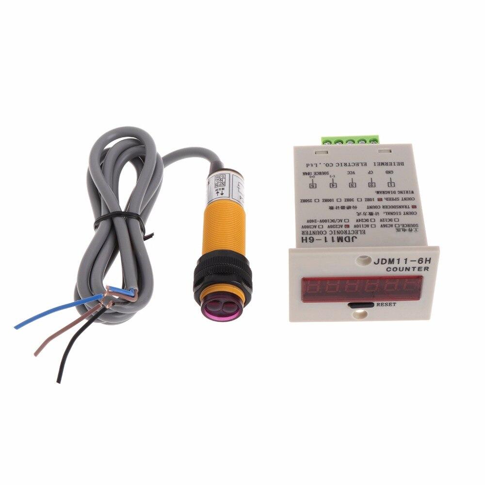 6-digit LED 1-999999 Compteur Réglable NPN Capteur Photoélectrique Commutateur Numérique Compteurs Commutateurs