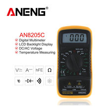 ANENG AN8205C Thermometry Digital Multimeter Voltmeter Ammeter AC DC OHM Volt Tester Test Temperature Gauge Tool new exaggerated ccb thick chain in europe and the popular hip hop big jewelry dj stage long clavicle necklace
