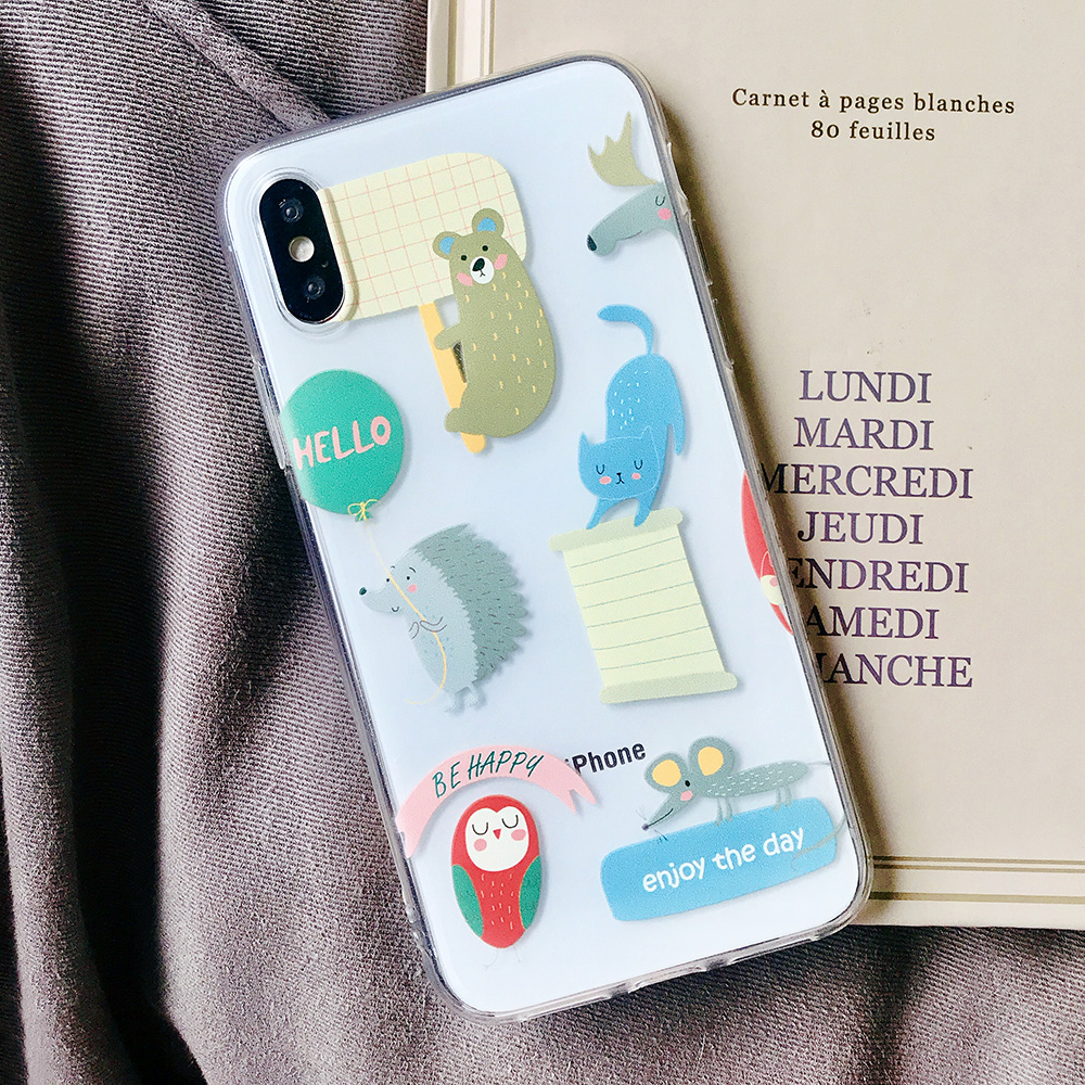 KIPX1072C_1_JONSNOW Transparent Soft Case For iPhone 6S 7 8 Plus Cute Funny Dinosaur Pattern Phone Cover For iPhone XS XR XS Max Capa Coque Fundas