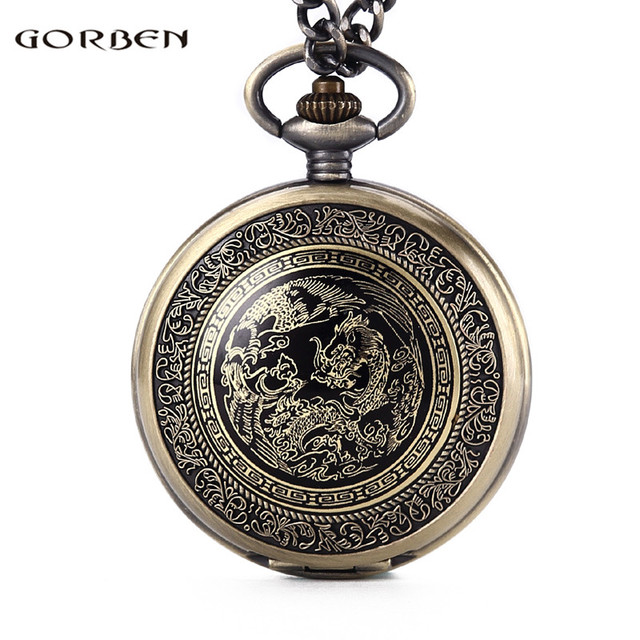 Vintage Chinese Traditions Dragon Design Pocket Watches Mens With FOB Chain Gold