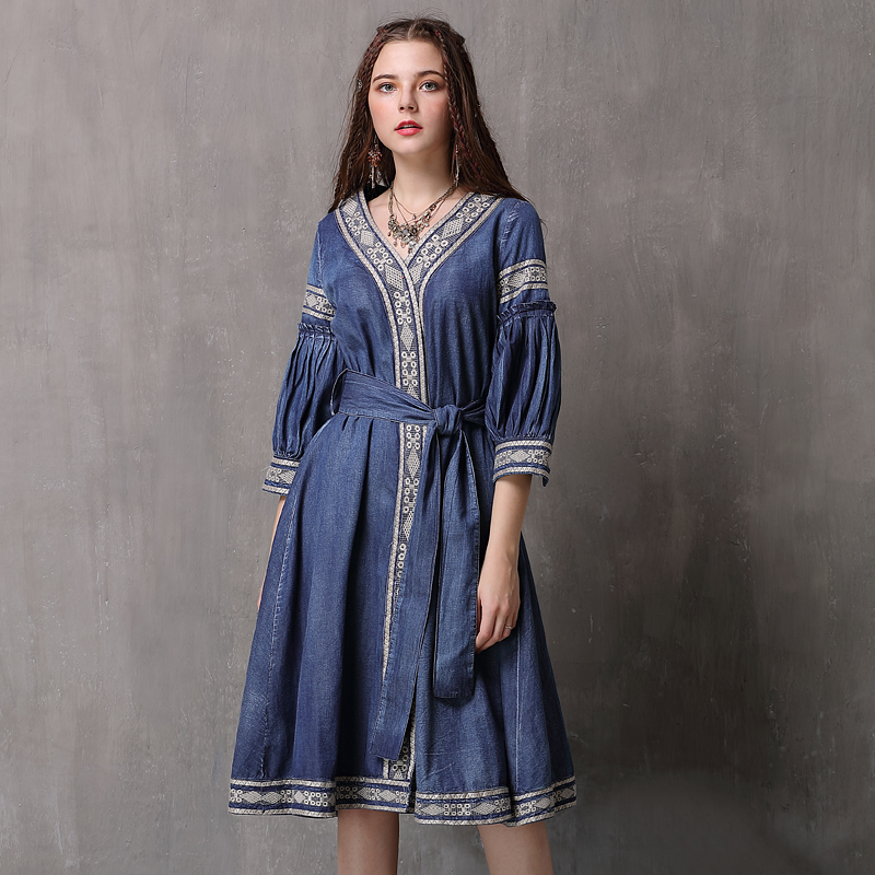 Women Dress 2018 Keer Boho Cotton Denning Embroidery Dresses V-Neck Half Sleeve Vestidos 82071 Vintage Denim Vestido Feminina