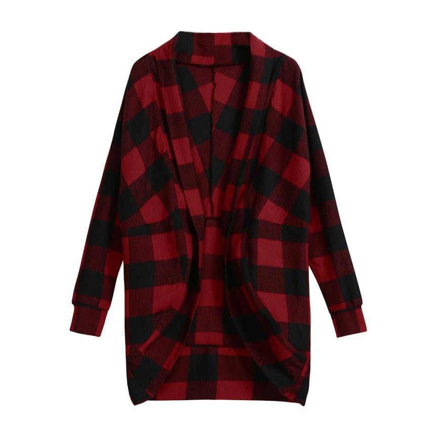Neue Ankunft Damen Jacken Herbst Unregelmäßigen Gitter Druck Damen Mantel Outwear Strickjacke veste sommer tops für frauen 2018
