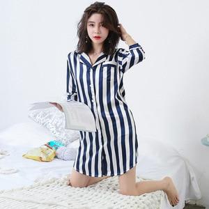 Image 3 - BZEL Mùa Hè Thời Trang Váy Ngủ Cho Nữ Suông Dễ Thương Nữ Homewear Cosy Satin Pyjamas Cổ Bẻ Sọc Feminino Pijamas