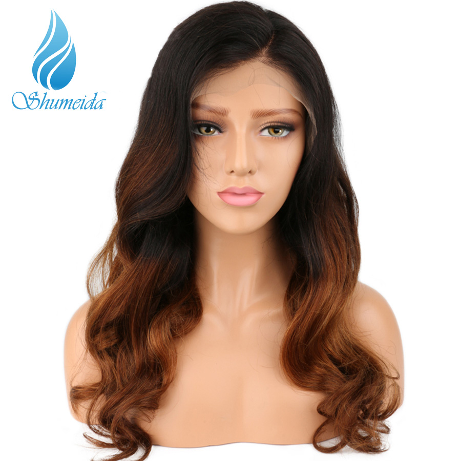 SHD Brazilian Lace Front Ombre Human Hair Wig With Baby Hair Pre Plucked Lace Wig Pre