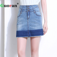 Guoran High Waist Women Denim Jeans Skirts Summer 2017 Plus Size Stretch Pencil Skirts Hip
