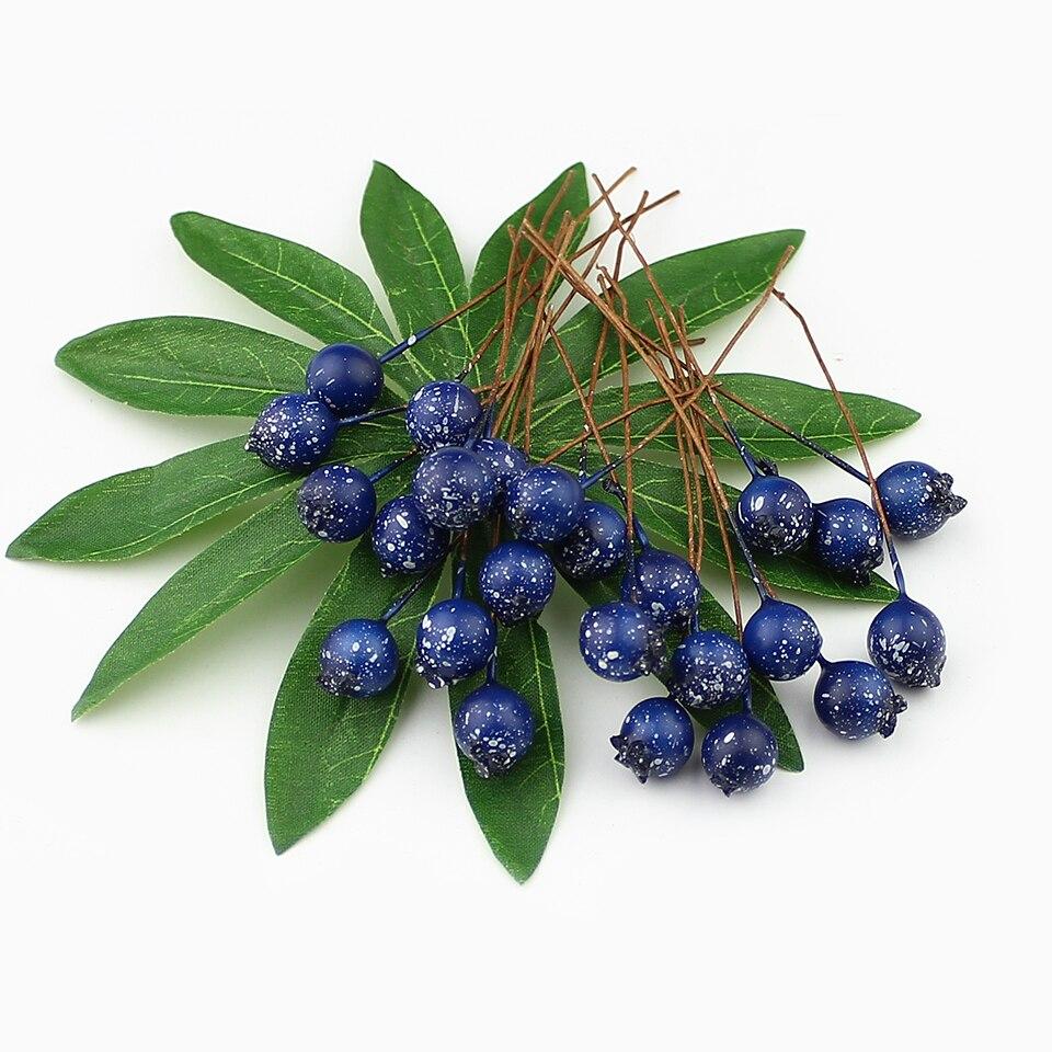 Image 2 - HUADODO 50 sztuk BlueBerry sztuczny pręcik kwiaty sztuczne jagody do scrapbookingu DIY wieniec dekoracjiartificial berriesstamen flowersartificial stamen -
