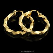 c588520cdf68 Grande Taille Or Éthiopien lisse Hoop Earrings18K Or Couleur Boucles  D oreilles Africaine Nigeria pour Femmes Mode Bijoux