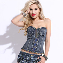 Nightclub sexy women Tops new women's fashion denim shirt Slash neck jeans Tops & Tees denim sexy  Wrapped chest top TT651