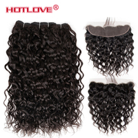 Hotlove Human Hair Water Wave Bundles With Lace Frontal Closure Indian Hair 3 Bundles Deal With 13x4 Closure Non Remy Hair