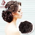 Women Curly Chignon Clip in Elastic Fake Hair Bun Updo Hairpiece Extension Accessories Synthetic Natural Hair Style Black Brown