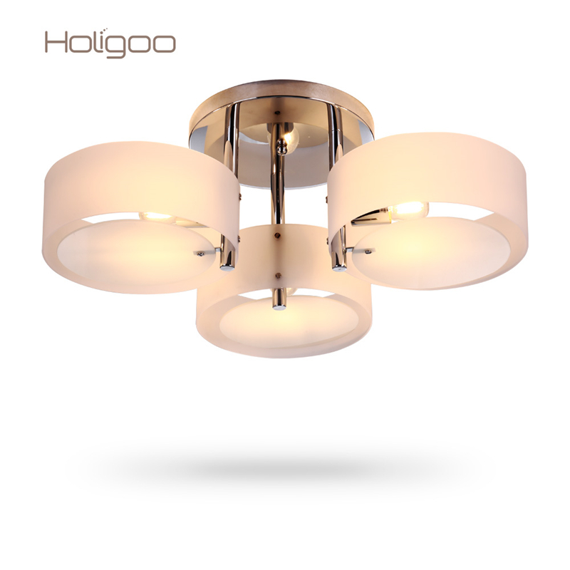 ФОТО 2017 Modern Ceiling Lights & Lighting Fashionable Design Dining Room Lamp Pendente de Teto de Cristal White Shade Acrylic Lustre