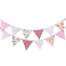 12 Flags 3.2m Banner Bunting Nordic Flowers Pennant Paper Flag Party Bell Garland Birthday Wedding Decoration Party