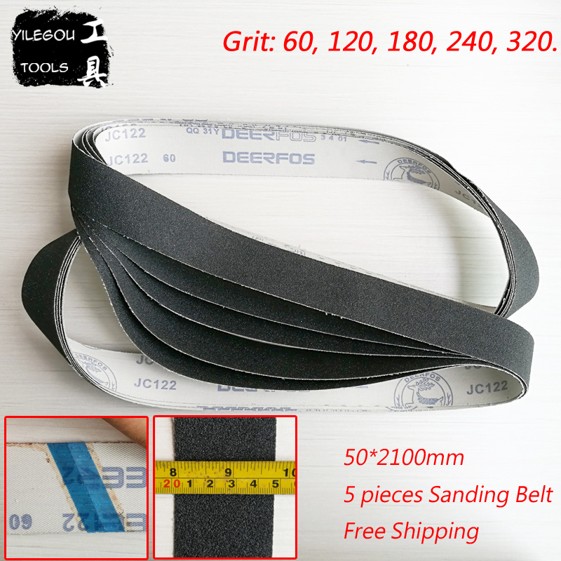 5 Pieces 50*2100mm Sanding Belt For Metal 2100*50mm Sanding Screen Wet and Dry Dual-use With Grit <font><b>60</b></font> <font><b>120</b></font> 180 240 320 For Metal image