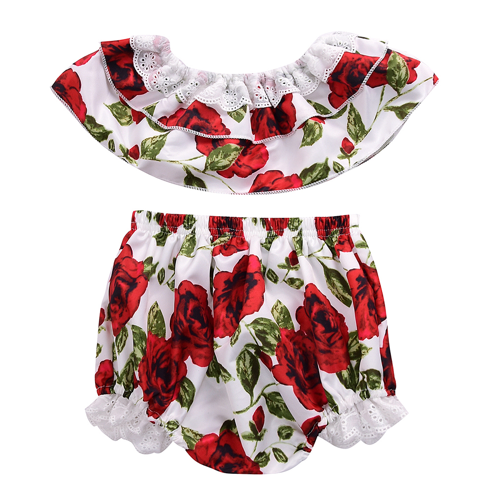 Fashion Baby Girls Clothes Rose Floral Print Off Shoulder Vest Tops+Shorts Pants Outfits 2pcs Kids Summer Clothing Set for 0-24M floral toddler girl clothing 2017 summer kids clothes baby girls off shoulder ruffle crop tops high waist shorts outfits set 3pc