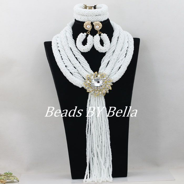 Pure Opaque White Bridal Jewelry Sets Nigerian Wedding African Beads Jewelry Set Crystal Beads Necklace New Free Shipping ABF154Pure Opaque White Bridal Jewelry Sets Nigerian Wedding African Beads Jewelry Set Crystal Beads Necklace New Free Shipping ABF154