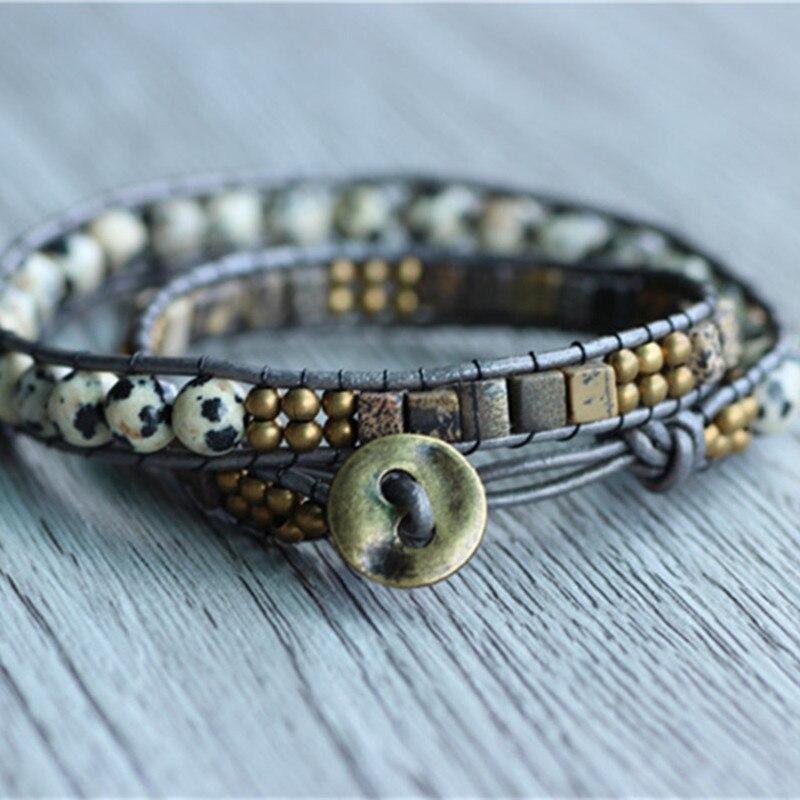 leather beaded bracelet with 6mm egg stone beads bracelet. Black Bedroom Furniture Sets. Home Design Ideas