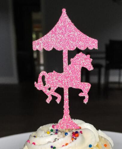 Glitter carrousel cheval enfants d 39 anniversaire g teau toppers bapt me bapt me party decoration - Decoration gateau cheval ...
