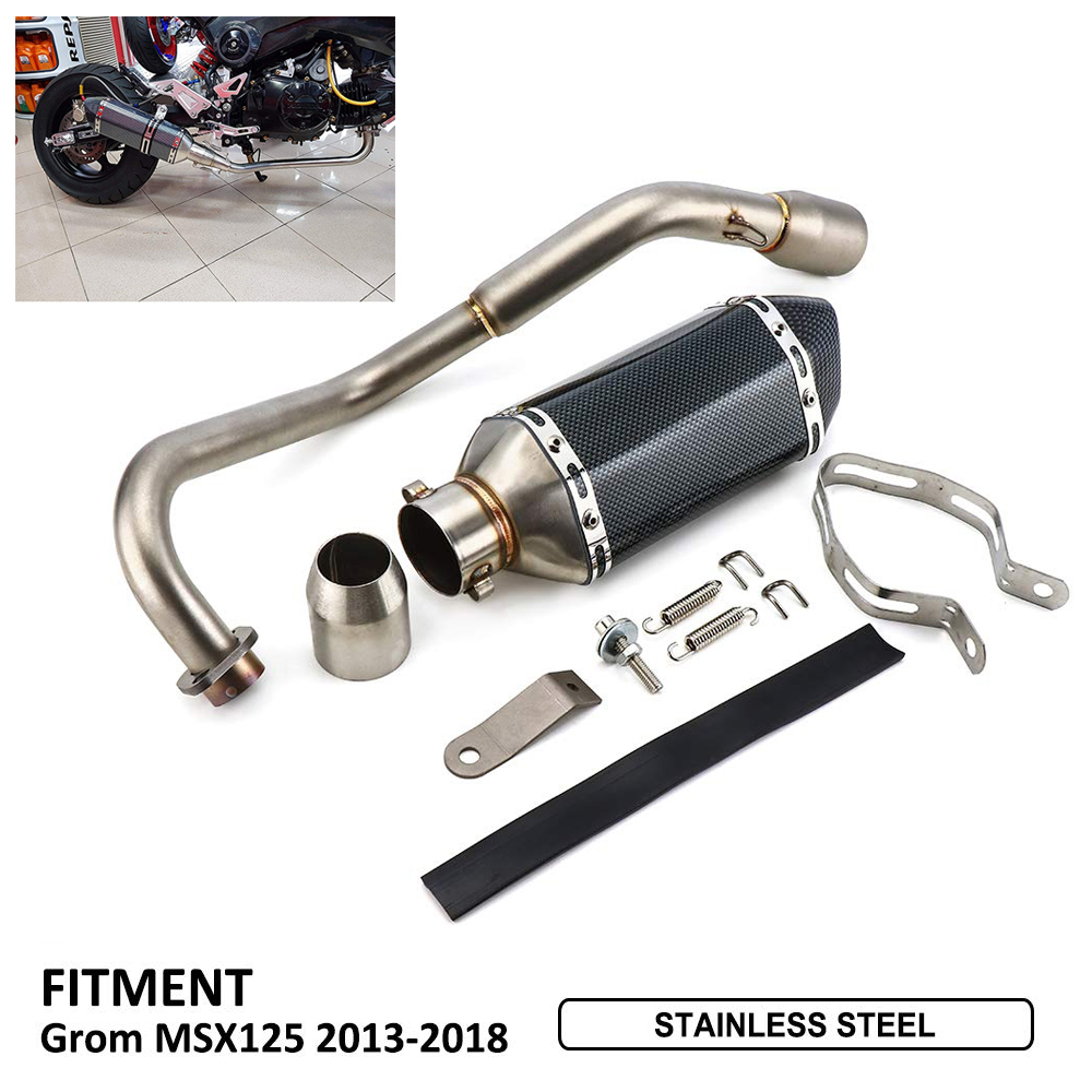 Full Exhaust System Side Pipe End For HONDA Grom 125 MSX125 Low Mount Exhaust Baffle 2013