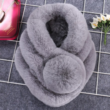 New Lovely Soft 100% Real Rabbit Fur Collar For Women Cute Pompom Winter Scarf Female Solid Thick Warm Scarves Luxury Brand