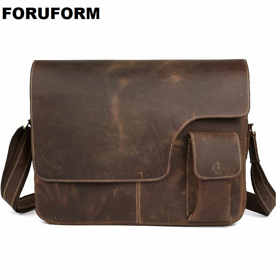 Crazy horse leather Vintage Men's Messenger Bag 100% Genuine leather Cross Body 14 inches Laptop Shoulder Bags Briefcase LI-650