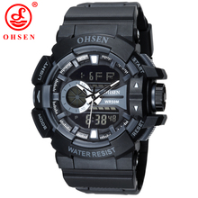 OHSEN Men Black Sports Watches Plastic LED Digital Analog Quartz Wristwatches Army Water Resistant 30m Watch Luxury Brand AD1505 цена