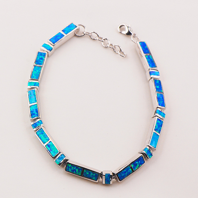 "Blue Fire Opal 925 Sterling Silver Bracelet  P84 8""  Free Ship High quantity Factory price"
