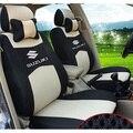 Cinza/vermelho/bege/azul Bordado do logotipo Parte Dianteira & Parte Traseira completa 5 Assento Tampa de Assento Do Carro Para Suzuki S-CROSS Jimny Grand Vitara Quatro Estações