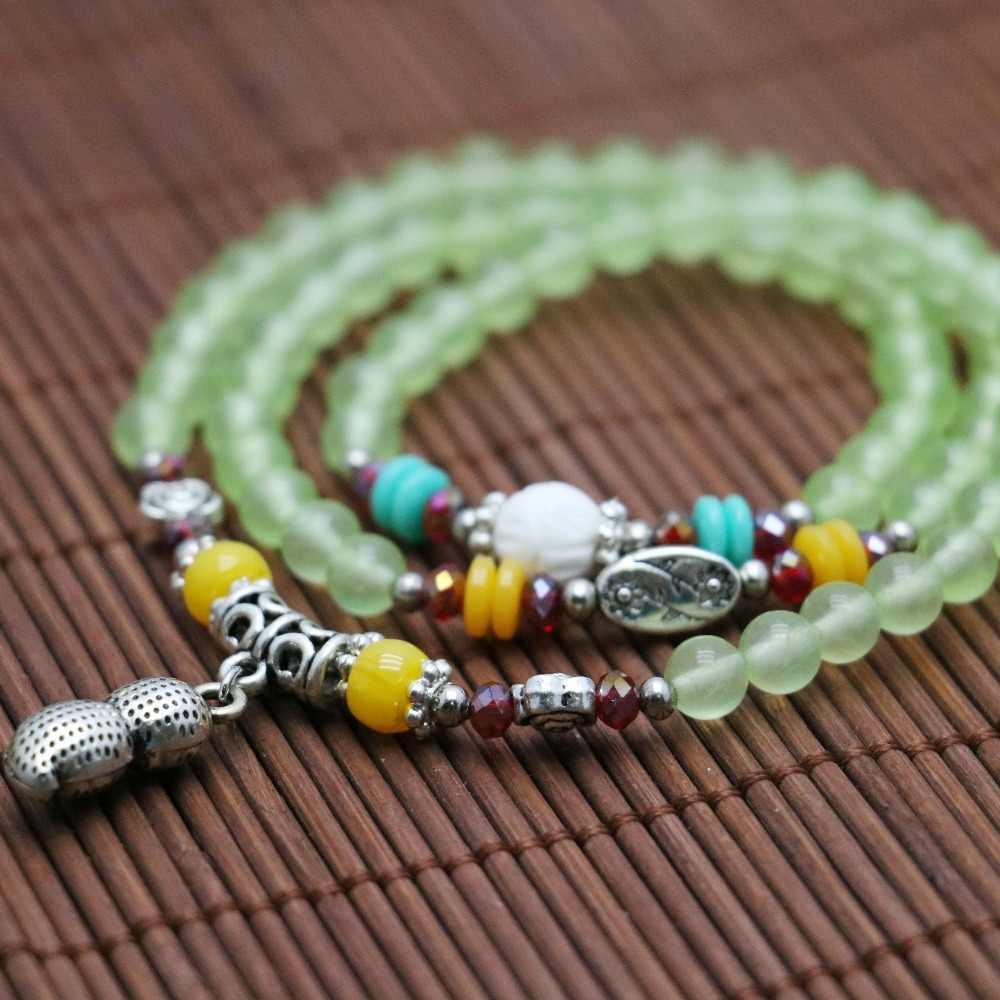 6mm Ethnic style Grape stones Crystal beads Bracelet hand chain for Women girls Necklace Ladies Tibet Silver Peanut Pendant