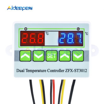 ST3012 AC 110-220V DC 12V 24V LED Digital Dual Thermometer Temperature Controller Thermostat Incubator Microcomputer Dual Probe