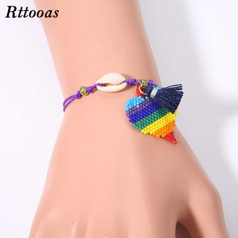 Rttooas Handmade Woven Love Heart Shell Bracelet 2019 Summer Beach Clothing Accessories Friendship Bracelet for Women