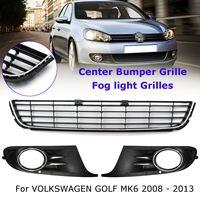 Coche delantero inferior Centro parrilla panel de cromo + Luz de niebla Parrilla de cromo para VW Golf MK6 2008- 2013