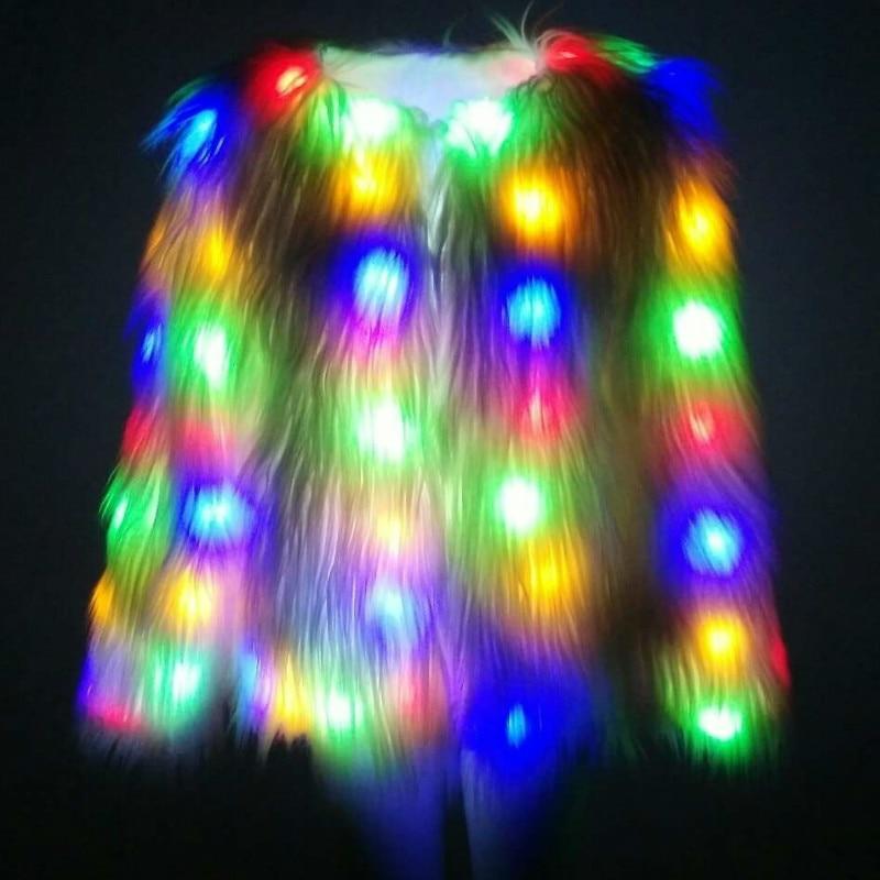 LED Faux Mink Fur Coat Festival Fur Jacket Halloween Light Parka Sheep Hair Christmas Cosplay Ball Wear Cardigan Plus Size XL