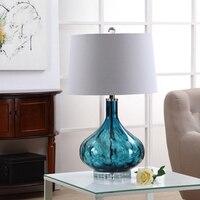 Средиземное море Ручной работы синий Стекло ткани абажур светодиодный E27 Настольная лампа для Гостиная Спальня Свадебный декор H 73 см