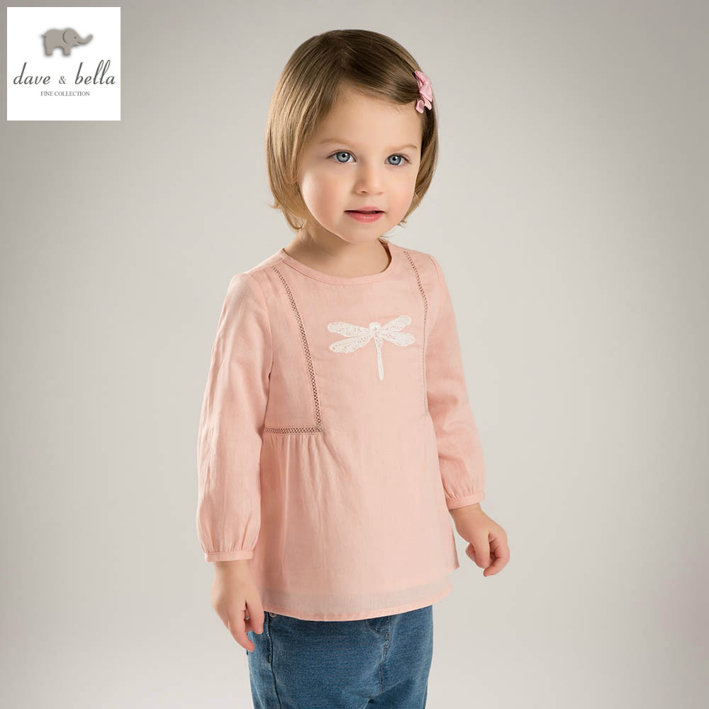 DB4829 dave bella spring baby girls cute t-shirt girls cotton tee baby tops infant clothes toddle t-shirt