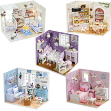 DIY Doll House Miniature Dollhouse Model With 3D Furniture And Dust Cover Wooden Doll House Creative Toys For Children #E diy doll house miniature dollhouse model with 3d furniture and dust cover wooden doll house creative toys for children e
