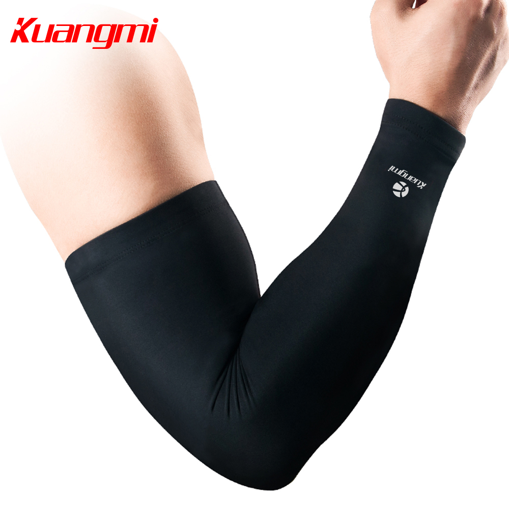 Kuangmi Sport Arm Sleeve Comprsession Cycling Arm Warmer Cover UV para baloncesto Running Manguitos Para Ciclismo Codo Soporte