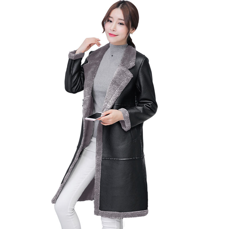 Fur Collar Women Long   Leather   Jacket Coat Female Winter Warm Long Sleeve Plus Size   Leather     Suede   Jacket Ladies Jacket Coat Q816