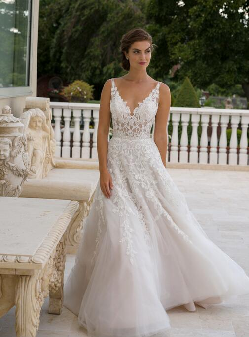 Us 189 0 Lace Bridal Gowns Tulle Beading A Line Puffy Dresses Sheer Bodice Floor Length Wedding Bvb1556 In From